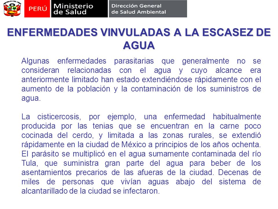 ENFERMEDADES VINVULADAS A LA ESCASEZ DE AGUA