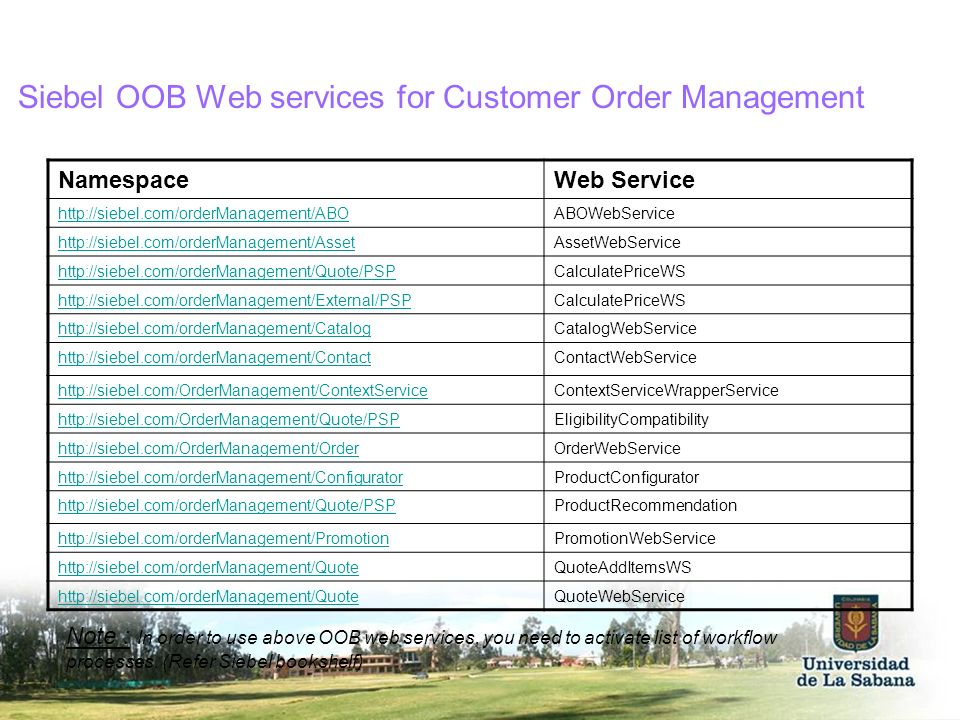 Siebel OOB Web services for Customer Order Management