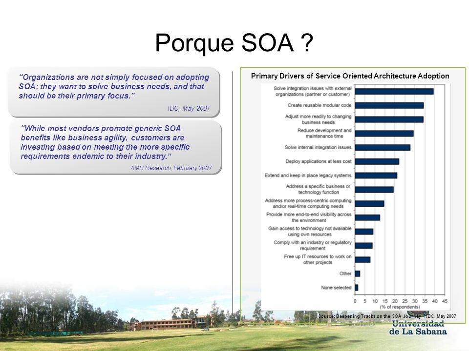 Porque SOA Organizations are not simply focused on adopting SOA; they want to solve business needs, and that should be their primary focus.