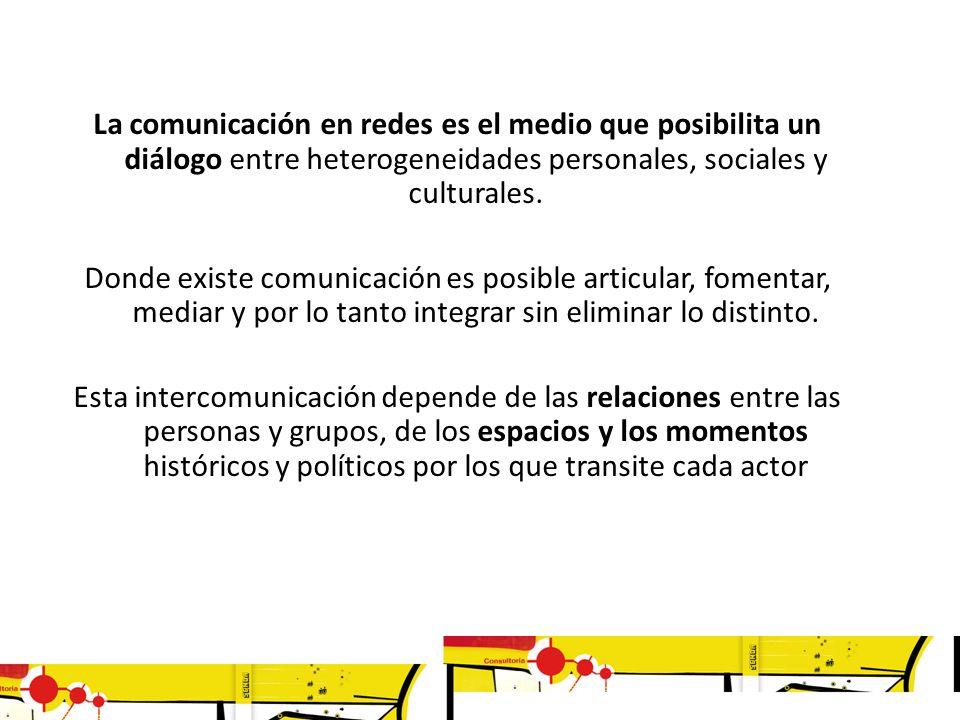 La comunicación en redes es el medio que posibilita un diálogo entre heterogeneidades personales, sociales y culturales.