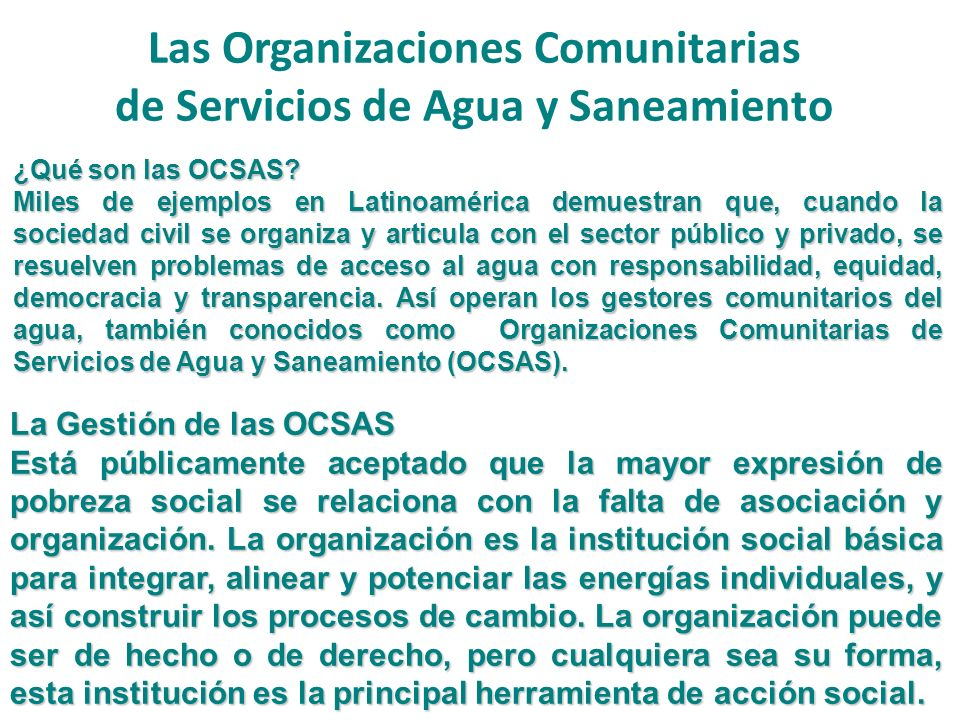 Las Organizaciones Comunitarias de Servicios de Agua y Saneamiento