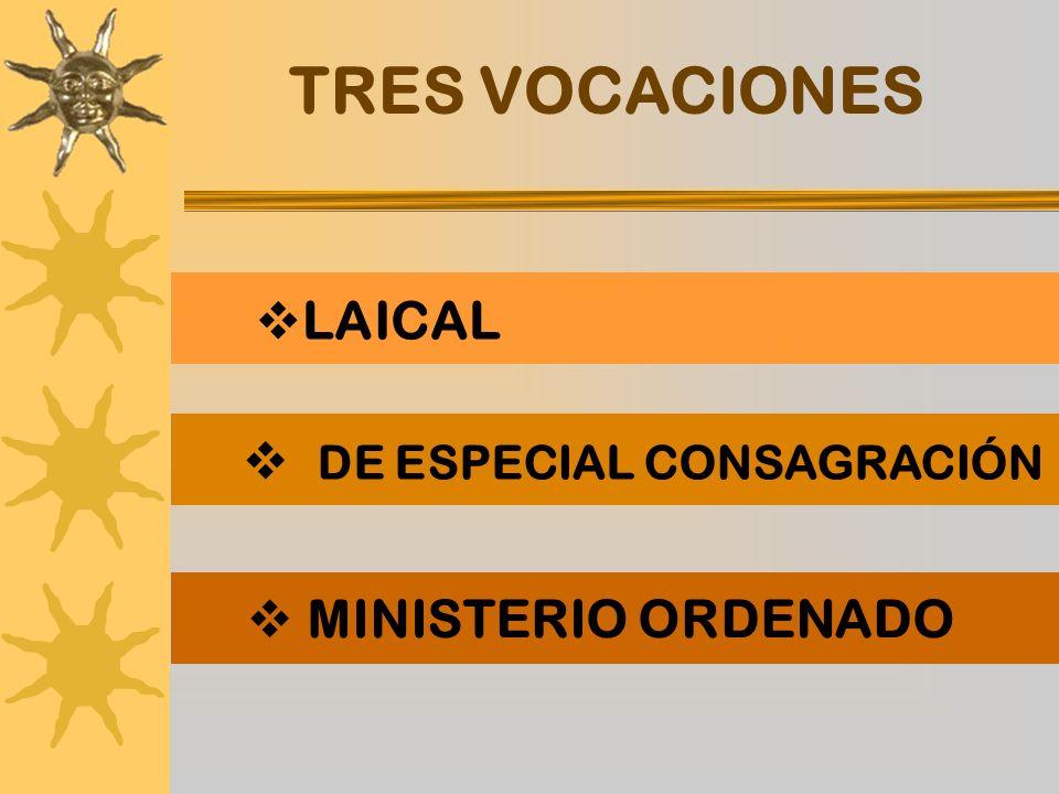 TRES VOCACIONES LAICAL DE ESPECIAL CONSAGRACIÓN MINISTERIO ORDENADO