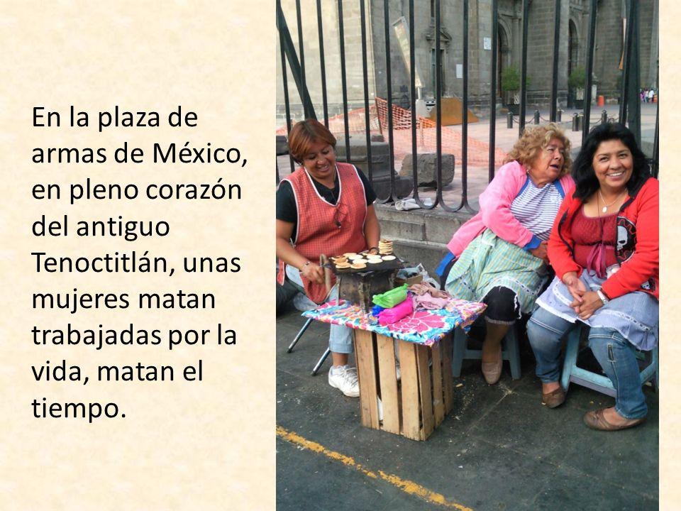 En la plaza de armas de México, en pleno corazón del antiguo Tenoctitlán, unas mujeres matan trabajadas por la vida, matan el tiempo.