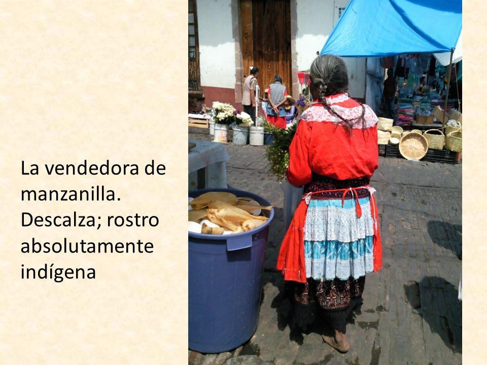 La vendedora de manzanilla. Descalza; rostro absolutamente indígena