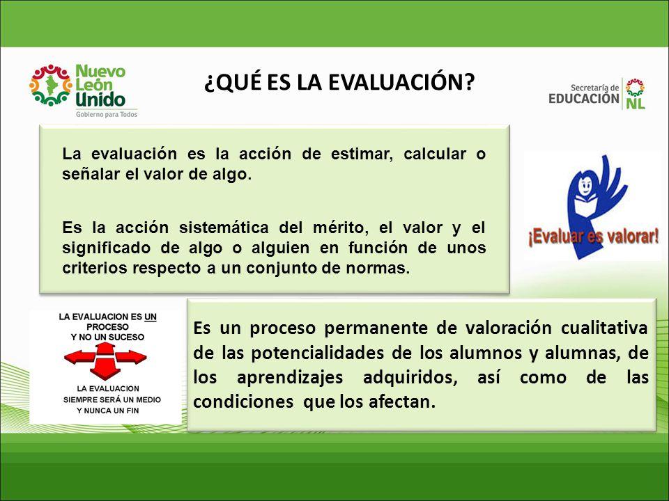 ¿QUÉ ES LA EVALUACIÓN La evaluación es la acción de estimar, calcular o señalar el valor de algo.