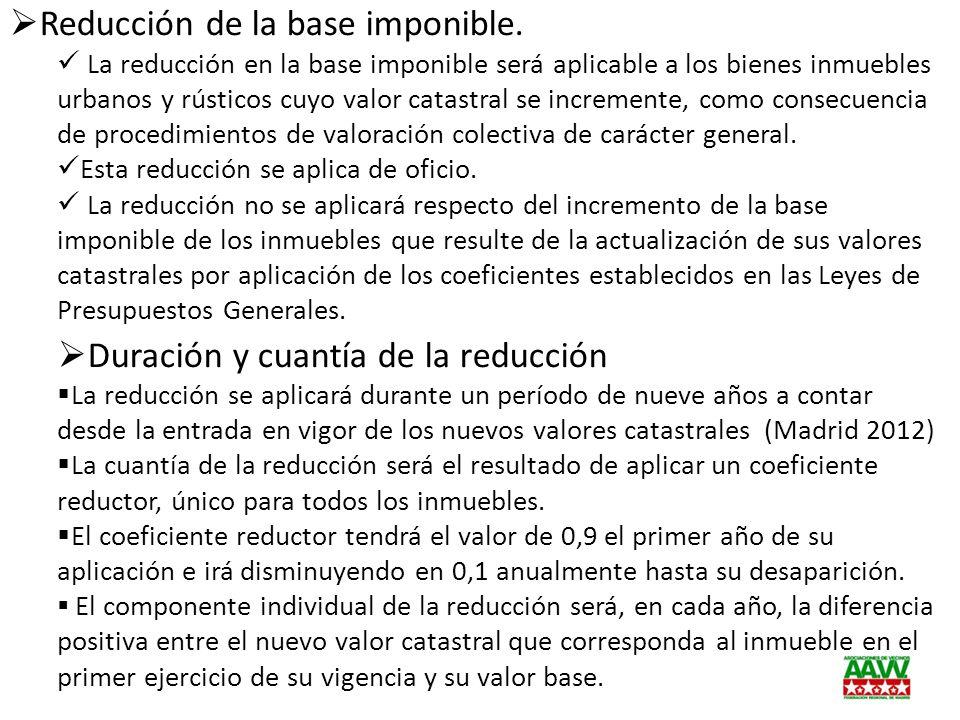 Reducción de la base imponible.
