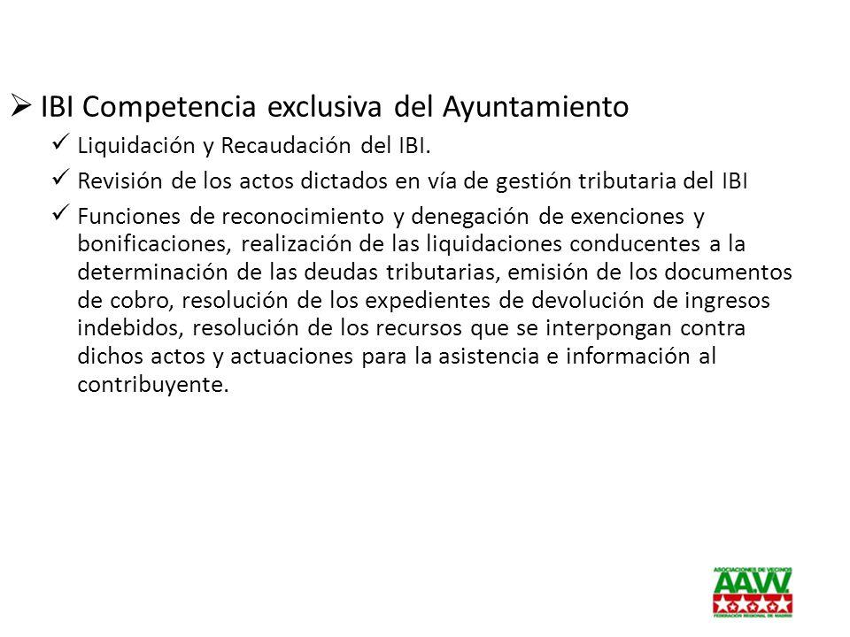 IBI Competencia exclusiva del Ayuntamiento