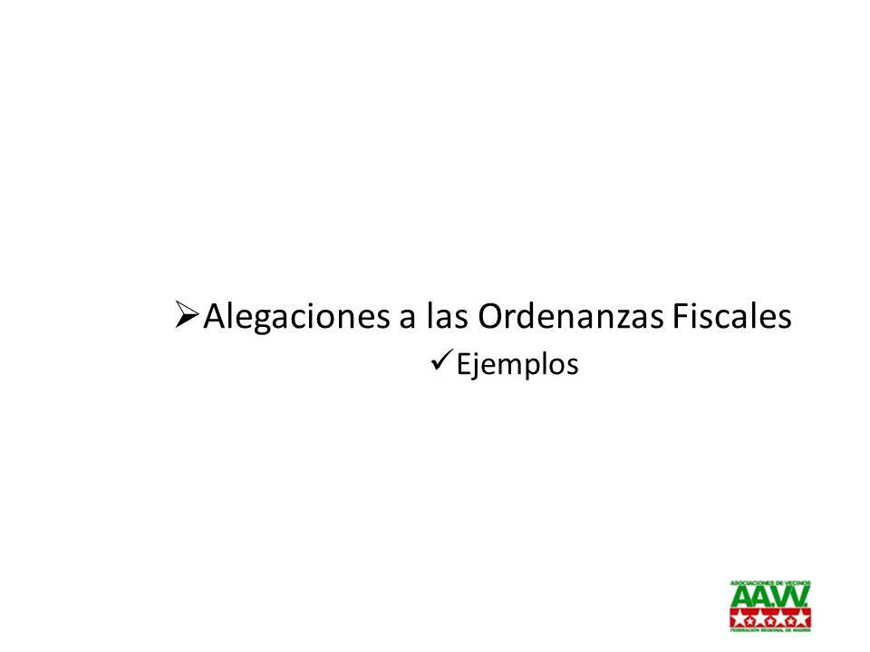 Alegaciones a las Ordenanzas Fiscales