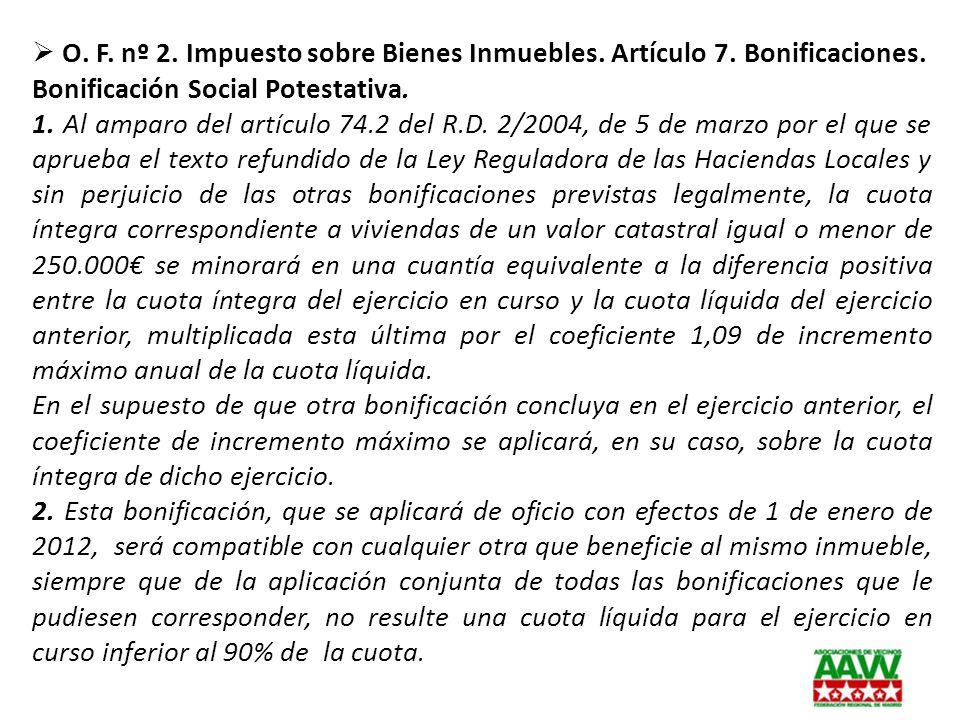 O. F. nº 2. Impuesto sobre Bienes Inmuebles. Artículo 7. Bonificaciones.