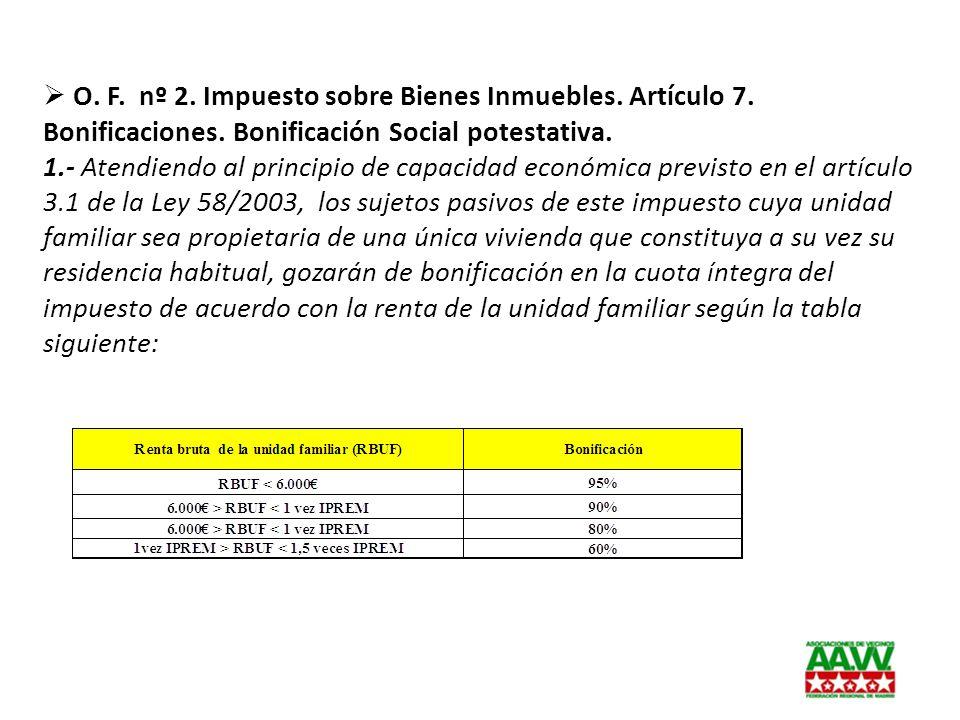 O. F. nº 2. Impuesto sobre Bienes Inmuebles. Artículo 7. Bonificaciones. Bonificación Social potestativa.