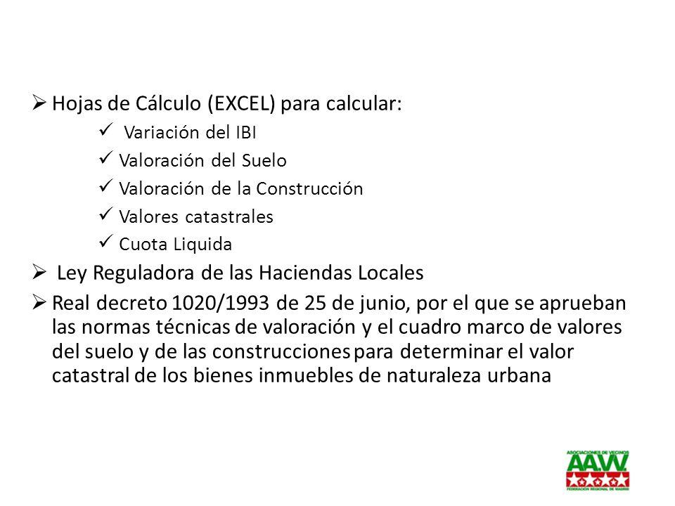 Hojas de Cálculo (EXCEL) para calcular: