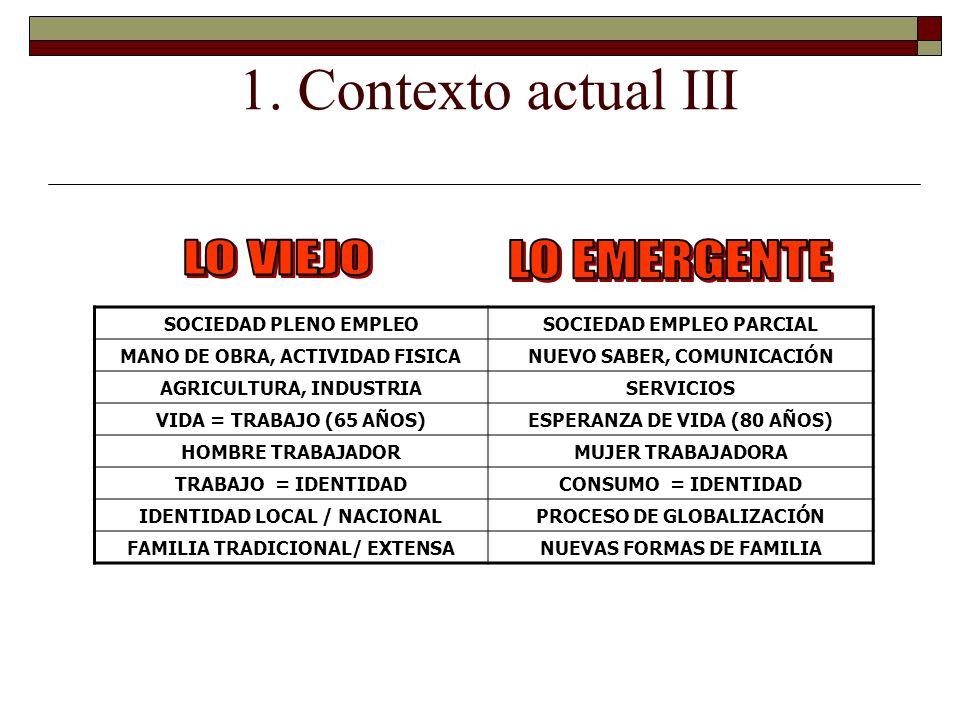 1. Contexto actual III LO VIEJO LO EMERGENTE SOCIEDAD PLENO EMPLEO