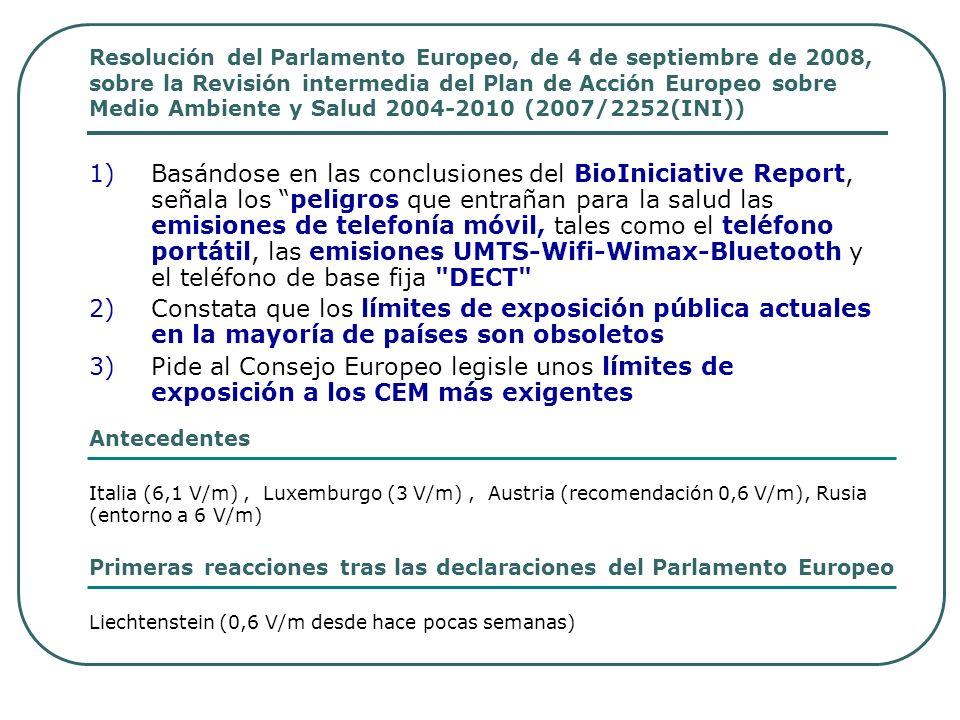 Resolución del Parlamento Europeo, de 4 de septiembre de 2008, sobre la Revisión intermedia del Plan de Acción Europeo sobre Medio Ambiente y Salud 2004-2010 (2007/2252(INI))
