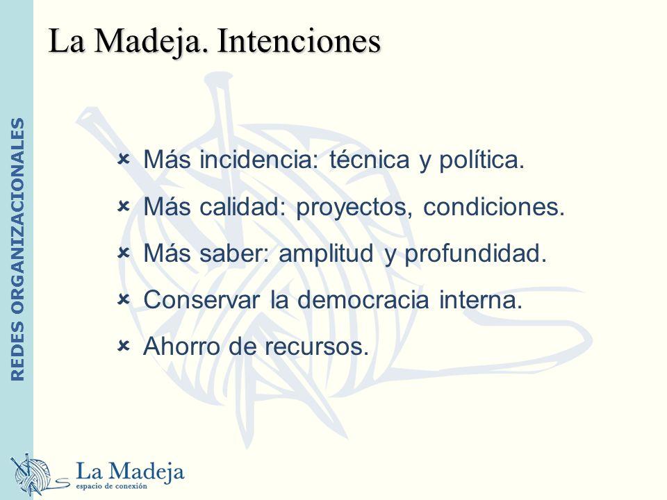 La Madeja. Intenciones Más incidencia: técnica y política.