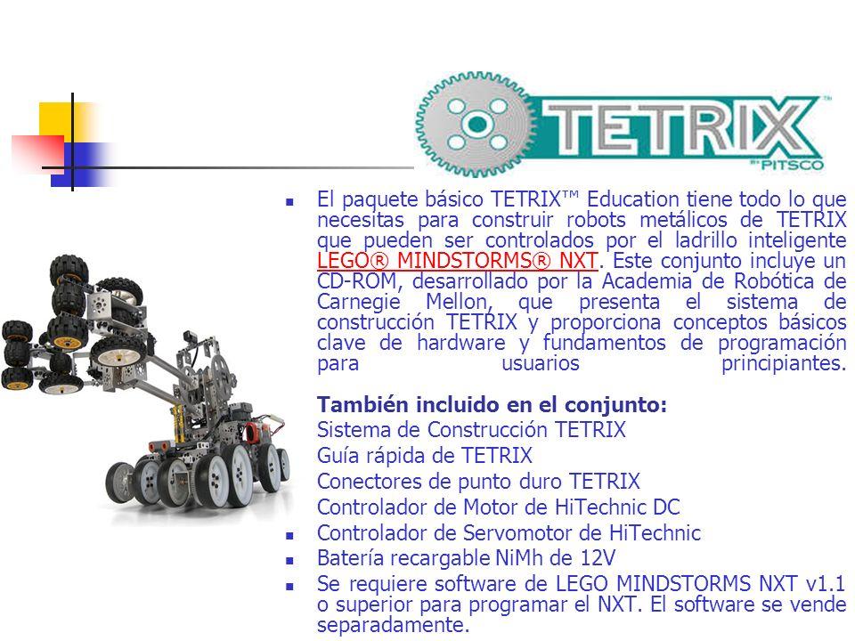 El paquete básico TETRIX™ Education tiene todo lo que necesitas para construir robots metálicos de TETRIX que pueden ser controlados por el ladrillo inteligente LEGO® MINDSTORMS® NXT. Este conjunto incluye un CD-ROM, desarrollado por la Academia de Robótica de Carnegie Mellon, que presenta el sistema de construcción TETRIX y proporciona conceptos básicos clave de hardware y fundamentos de programación para usuarios principiantes. También incluido en el conjunto: