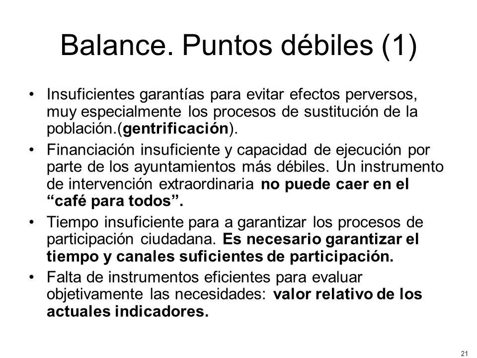 Balance. Puntos débiles (1)