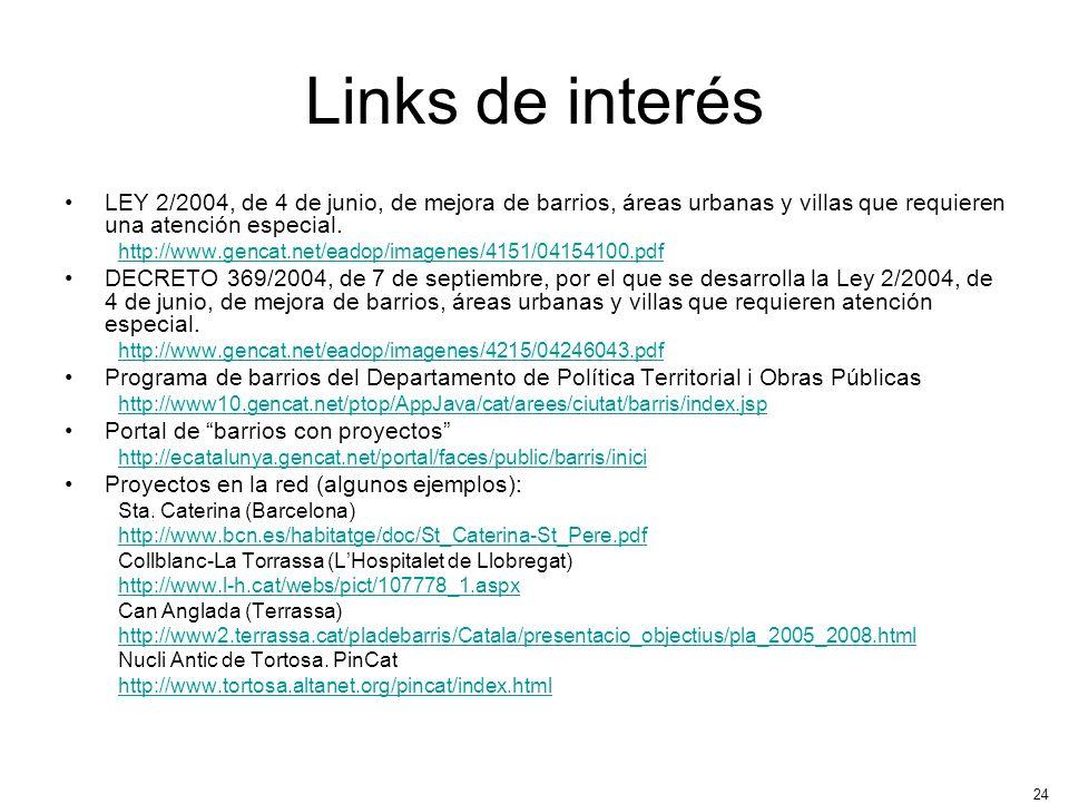 Links de interésLEY 2/2004, de 4 de junio, de mejora de barrios, áreas urbanas y villas que requieren una atención especial.