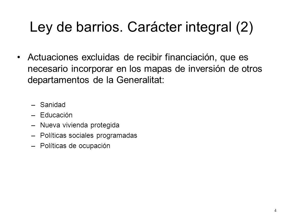 Ley de barrios. Carácter integral (2)