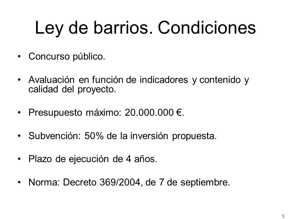 Ley de barrios. Condiciones