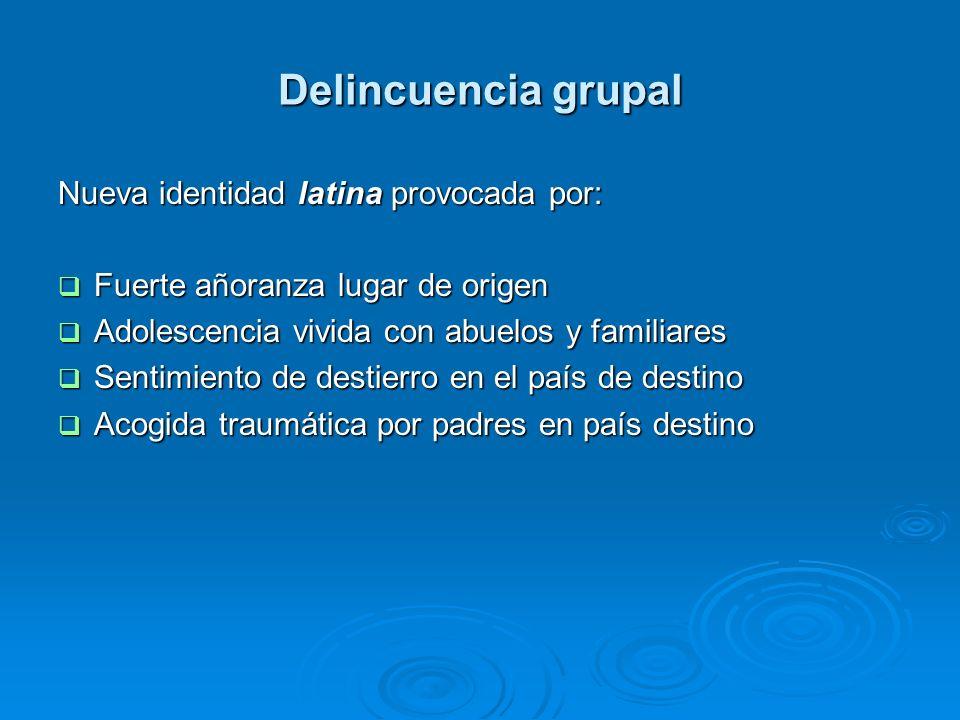 Delincuencia grupal Nueva identidad latina provocada por: