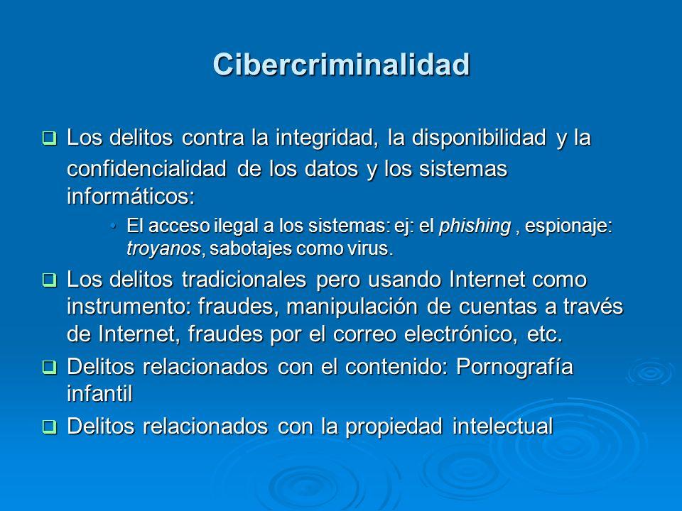 Cibercriminalidad Los delitos contra la integridad, la disponibilidad y la confidencialidad de los datos y los sistemas informáticos: