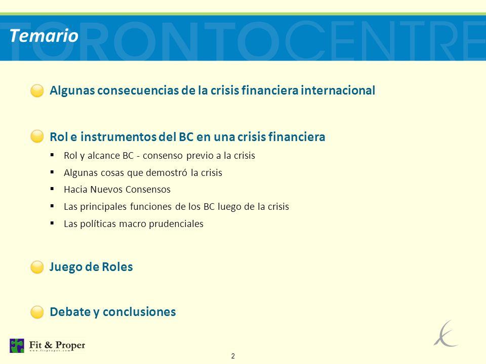 Temario Algunas consecuencias de la crisis financiera internacional