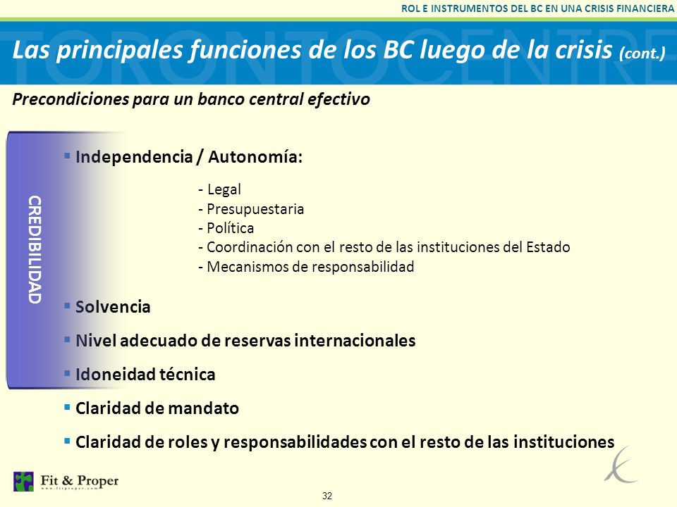Precondiciones para un banco central efectivo