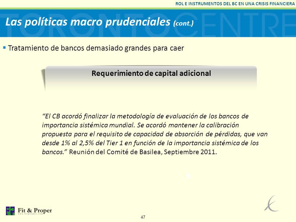Las políticas macro prudenciales (cont.)