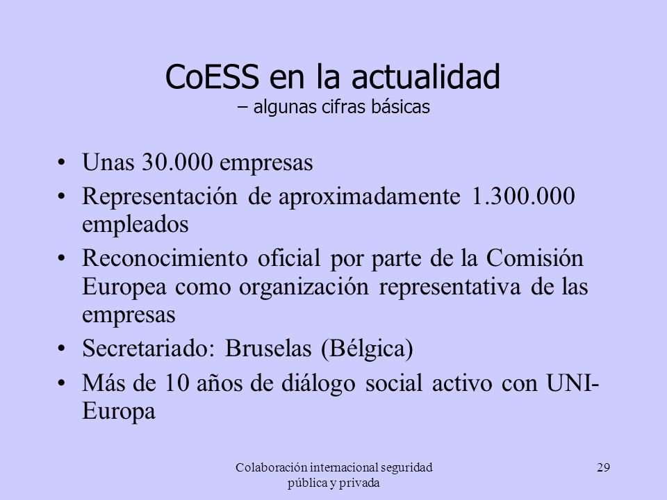 CoESS en la actualidad – algunas cifras básicas