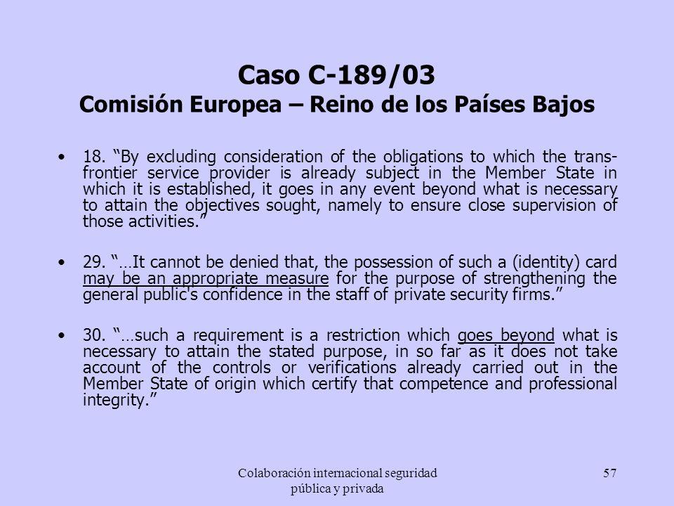 Caso C-189/03 Comisión Europea – Reino de los Países Bajos