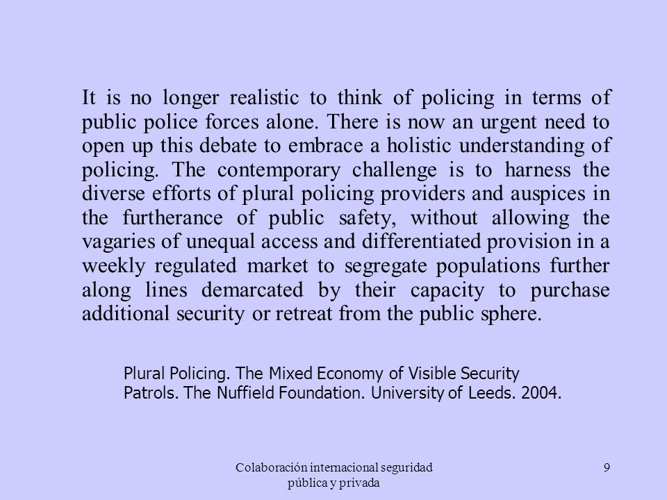 Colaboración internacional seguridad pública y privada
