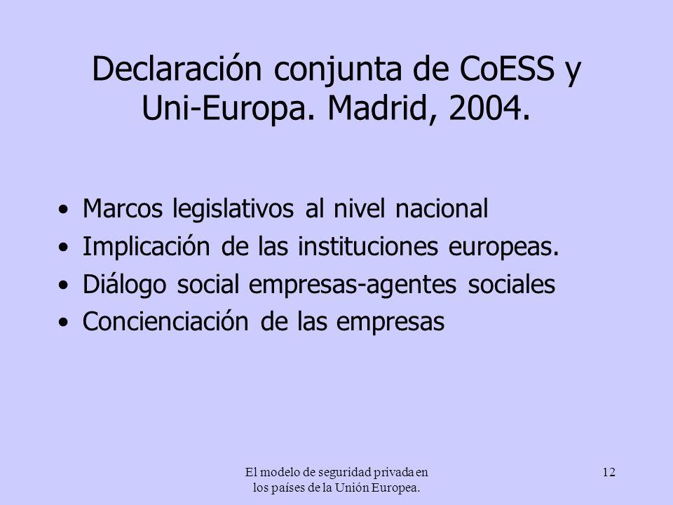 Declaración conjunta de CoESS y Uni-Europa. Madrid, 2004.