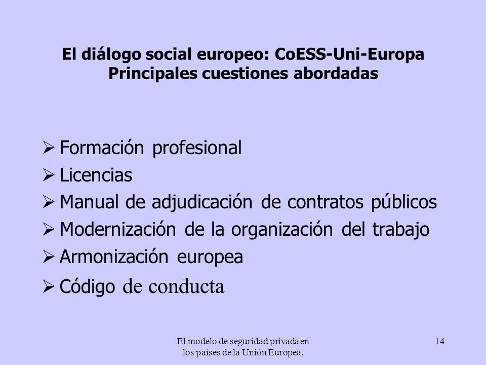 El modelo de seguridad privada en los países de la Unión Europea.