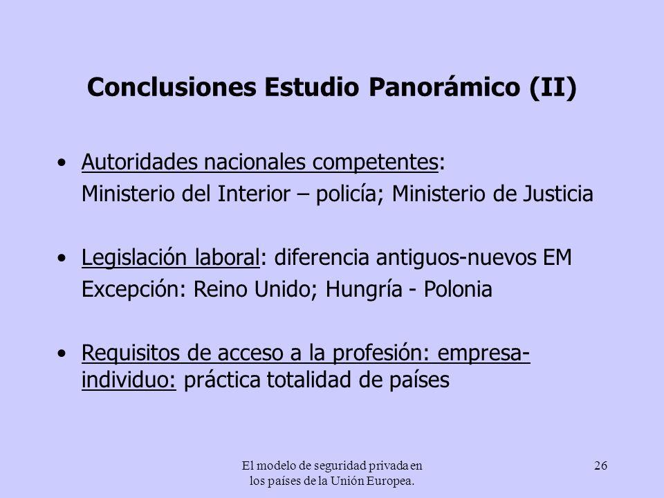 Conclusiones Estudio Panorámico (II)