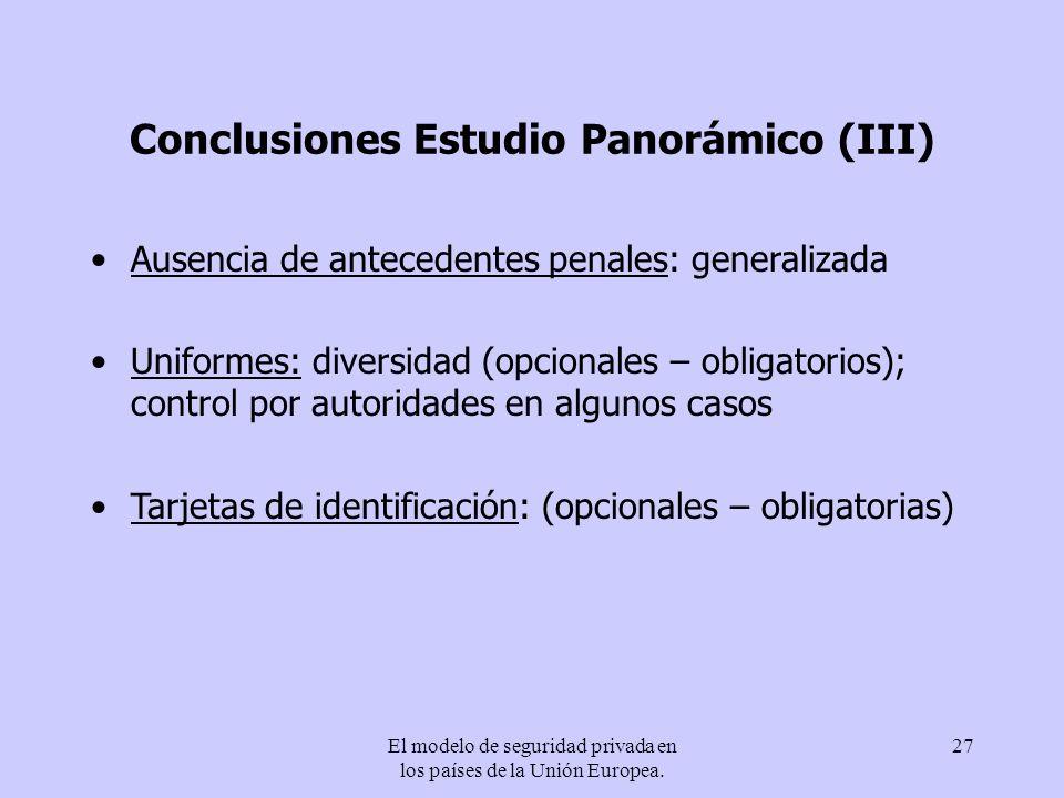 Conclusiones Estudio Panorámico (III)