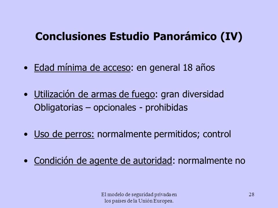 Conclusiones Estudio Panorámico (IV)