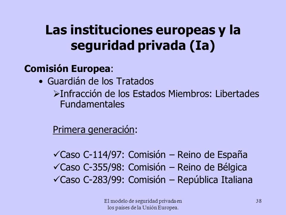 Las instituciones europeas y la seguridad privada (Ia)