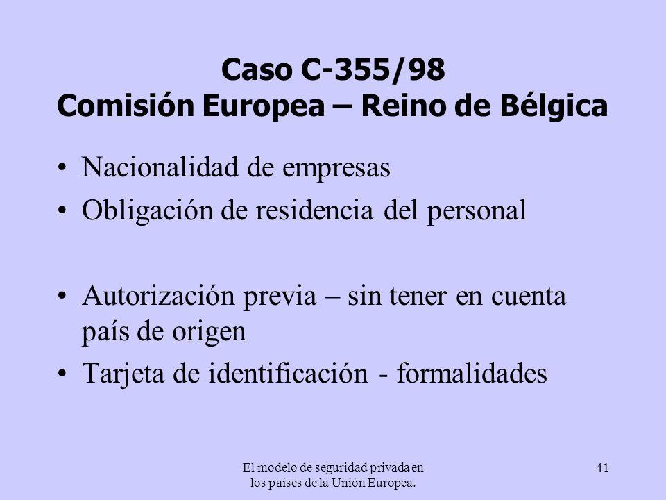 Caso C-355/98 Comisión Europea – Reino de Bélgica