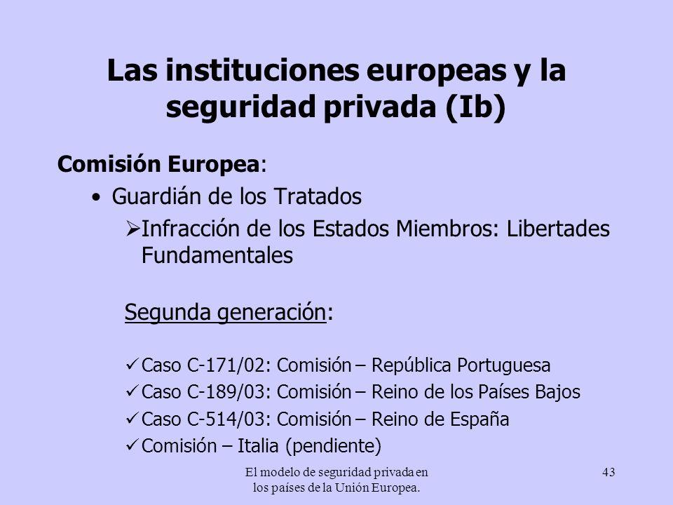Las instituciones europeas y la seguridad privada (Ib)