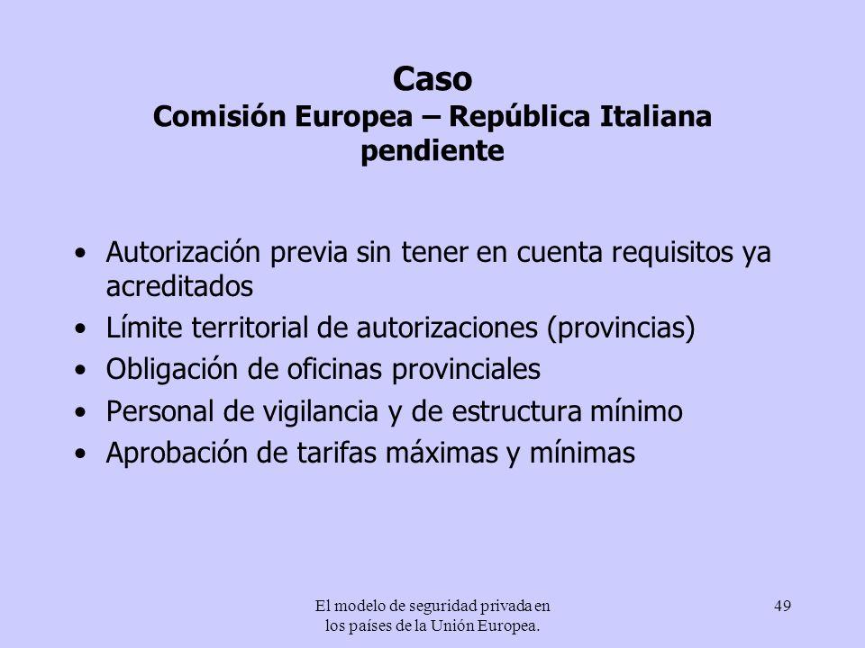 Caso Comisión Europea – República Italiana pendiente