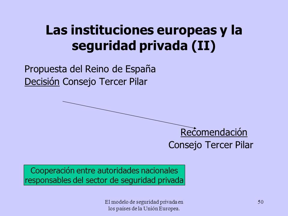Las instituciones europeas y la seguridad privada (II)