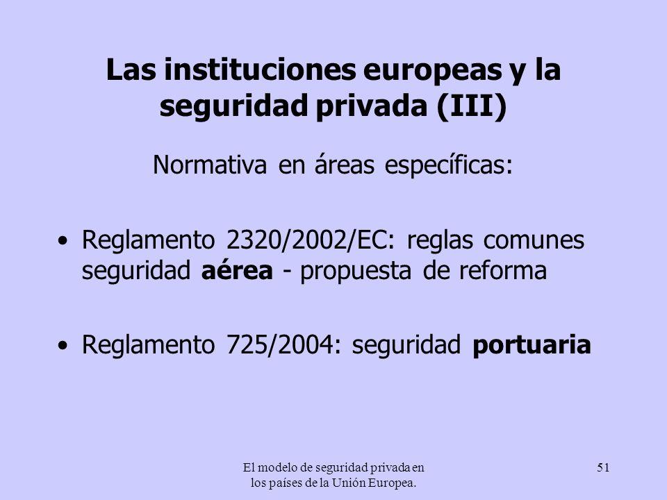 Las instituciones europeas y la seguridad privada (III)
