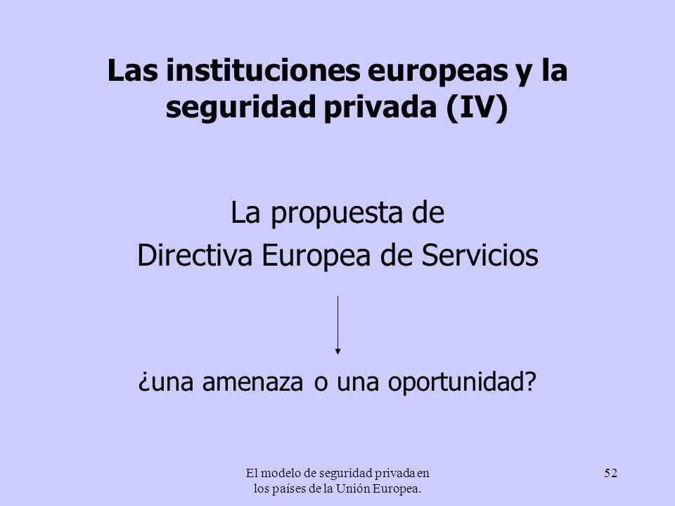 Las instituciones europeas y la seguridad privada (IV)
