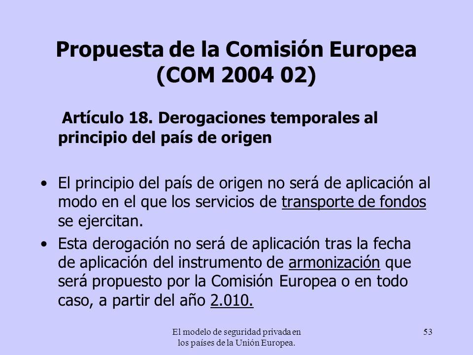 Propuesta de la Comisión Europea (COM 2004 02)
