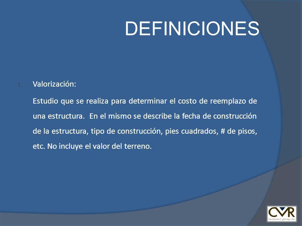 DEFINICIONES Valorización: