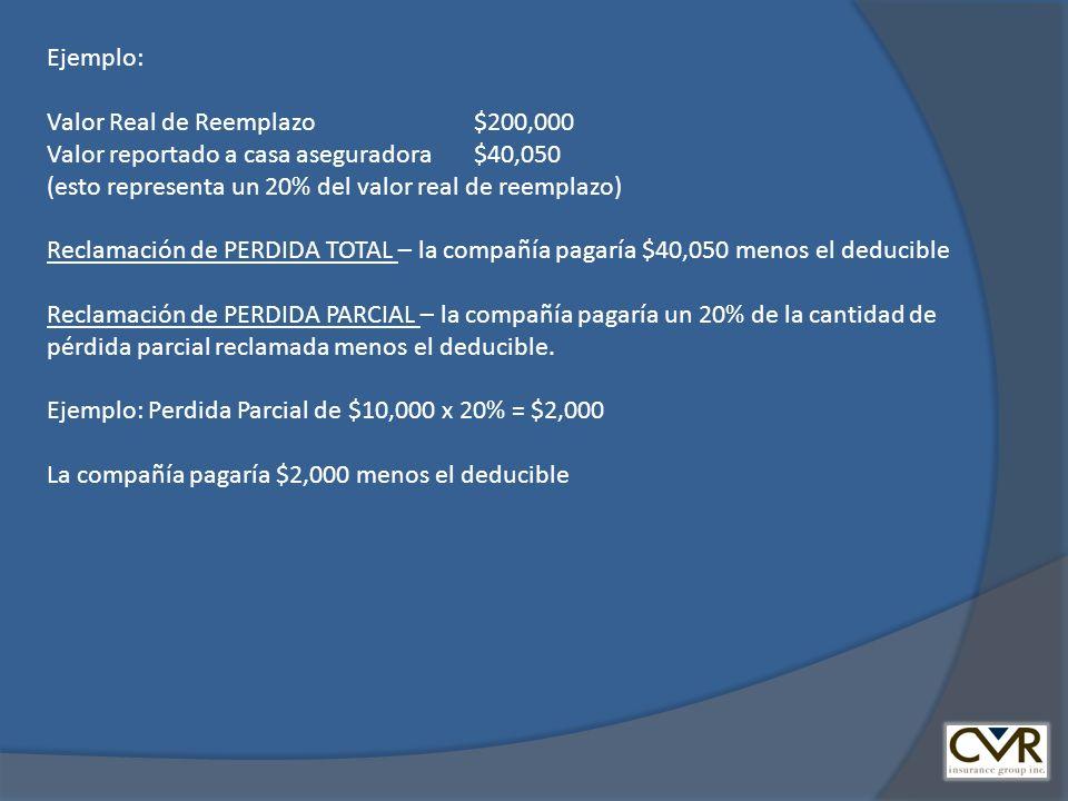 Ejemplo: Valor Real de Reemplazo $200,000. Valor reportado a casa aseguradora $40,050. (esto representa un 20% del valor real de reemplazo)