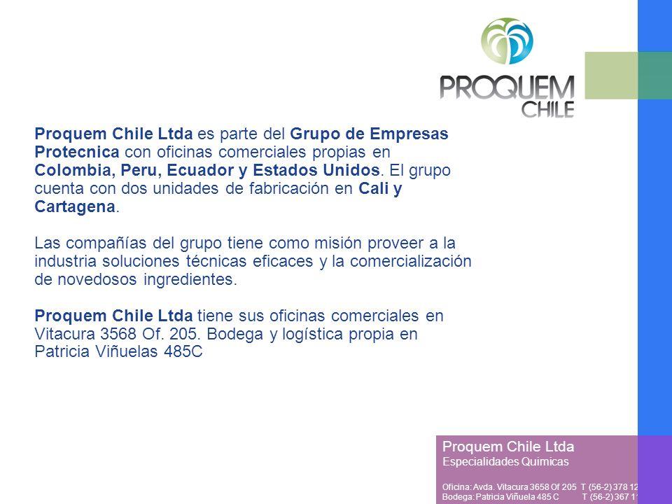 Proquem Chile Ltda es parte del Grupo de Empresas Protecnica con oficinas comerciales propias en Colombia, Peru, Ecuador y Estados Unidos.