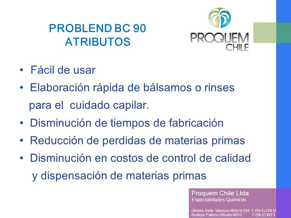PROBLEND BC 90 ATRIBUTOS Fácil de usar. Elaboración rápida de bálsamos o rinses. para el cuidado capilar.