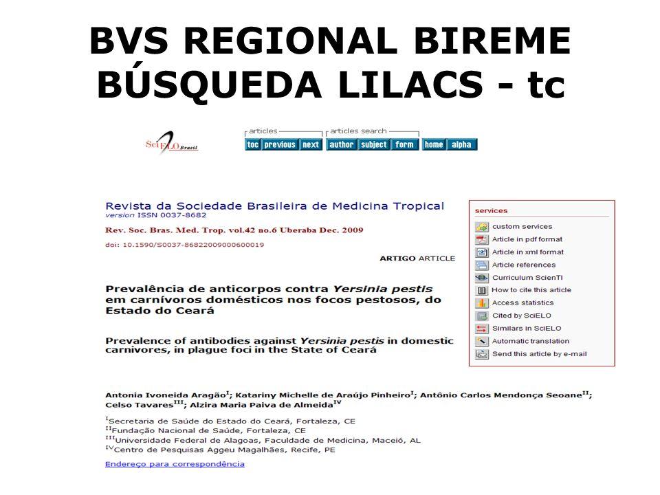 BVS REGIONAL BIREME BÚSQUEDA LILACS - tc