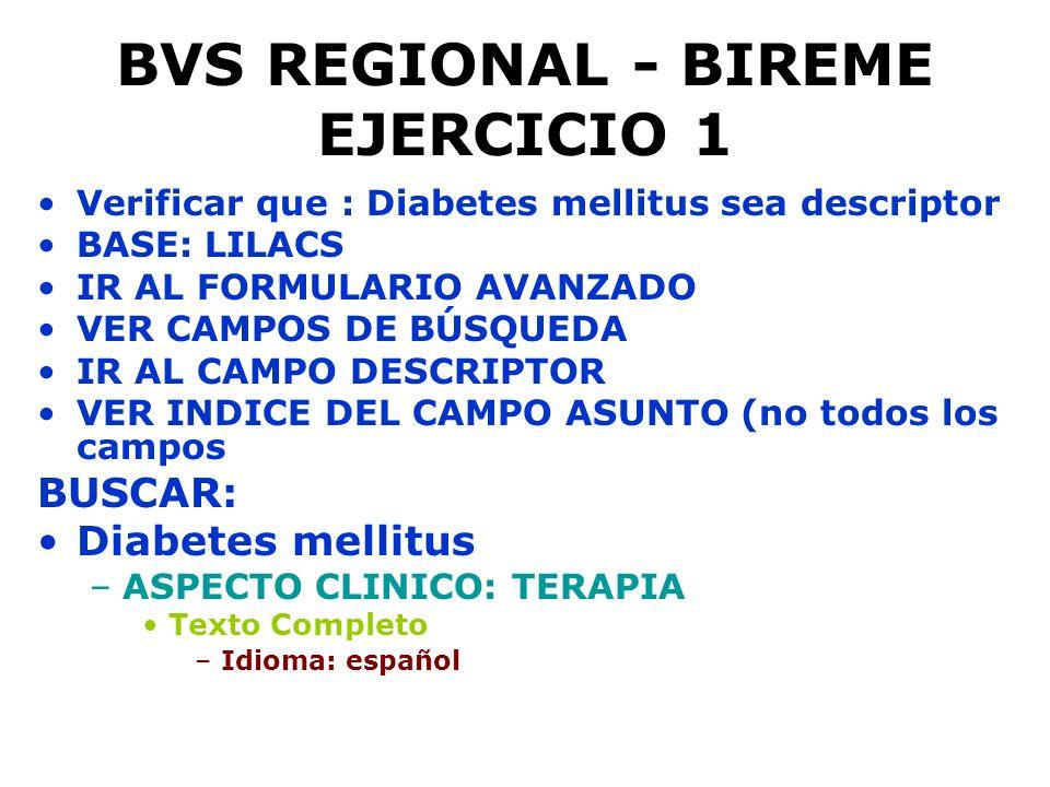 BVS REGIONAL - BIREME EJERCICIO 1